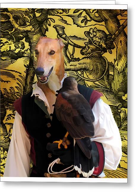Greyhound Dog Greeting Cards - Greyhound Art Canvas Print Greeting Card by Sandra Sij
