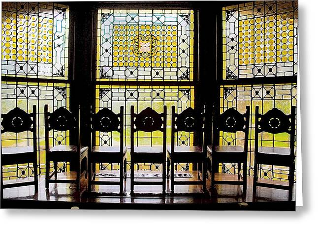 Flagler Greeting Cards - 7 Hairs and Stained Glass Db Greeting Card by Rich Franco