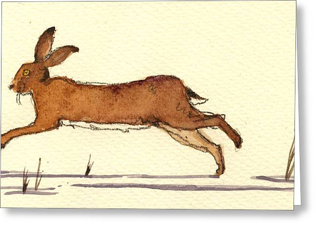 Hares Greeting Cards - Hare Greeting Card by Juan  Bosco