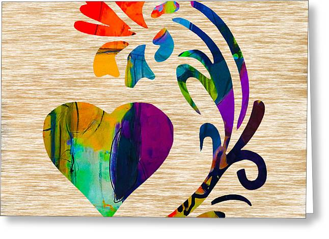Heart Greeting Cards - Heart and Flowers Greeting Card by Marvin Blaine