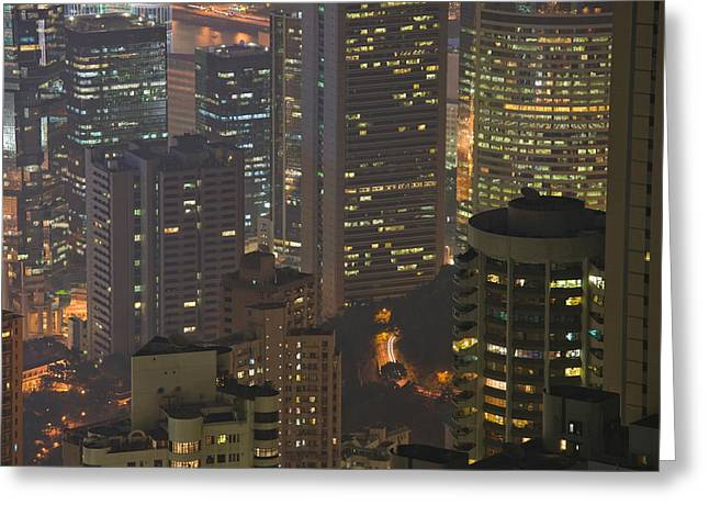 Hong Kong Island Greeting Cards - High Angle View Of Buildings Lit Greeting Card by Panoramic Images