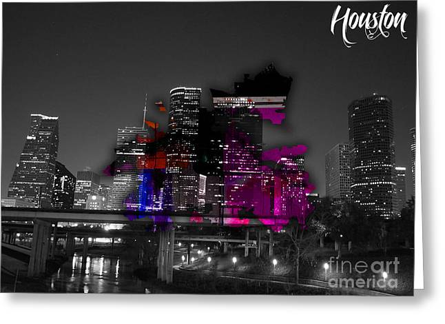 Houston Map And Skyline Watercolor Greeting Card by Marvin Blaine