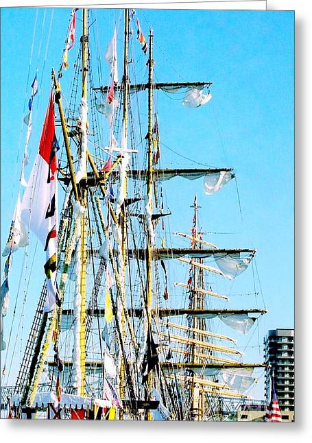 Tall Ship Greeting Cards - I Thought I Saw Three Sailing Ships Three Sailing Ships Early In The Morn N Greeting Card by Michael Hoard