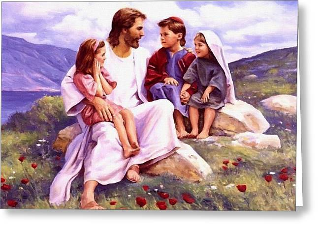 Religious Paintings Greeting Cards - Jesus And Child Greeting Card by Victor Gladkiy