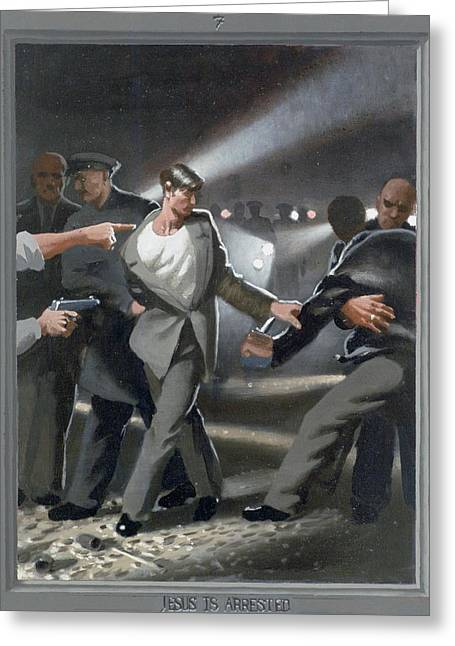Recently Sold -  - Holy Week Greeting Cards - 7. Jesus Is Arrested / from The Passion of Christ - A Gay Vision Greeting Card by Douglas Blanchard