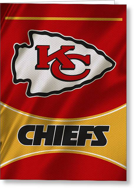 Kansas City Photographs Greeting Cards - Kansas City Chiefs Uniform Greeting Card by Joe Hamilton