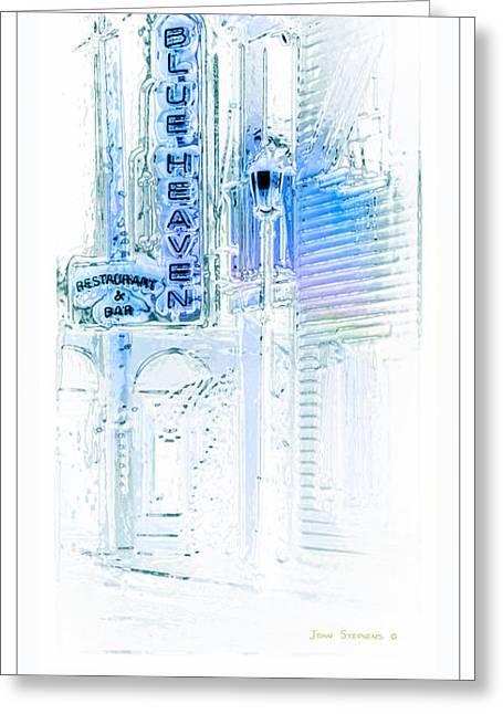 Landmark Posters Greeting Cards - Key West Florida - Blue Heaven Rendezvous Greeting Card by John Stephens