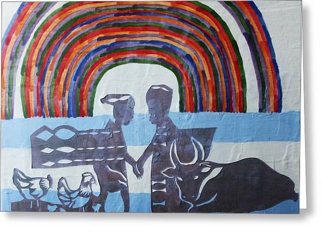 Drawing Ceramics Greeting Cards - Kintu and Nambi Greeting Card by Gloria Ssali