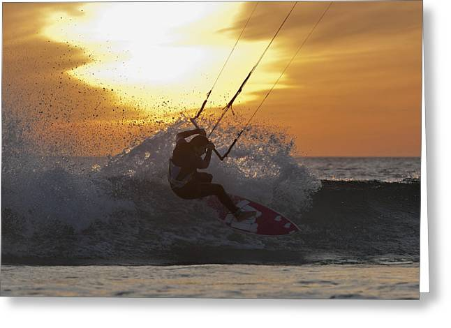 Kitesurfing Tarifa, Cadiz, Andalusia Greeting Card by Ben Welsh