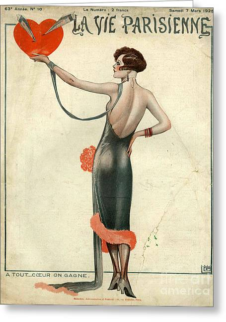 Posters Greeting Cards - La Vie Parisienne  1925  1920s France Greeting Card by The Advertising Archives