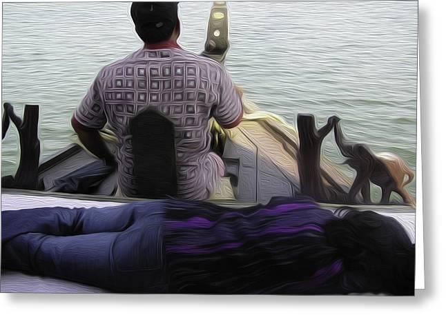 India Greeting Cards - Lady sleeping while boatman steers Greeting Card by Ashish Agarwal