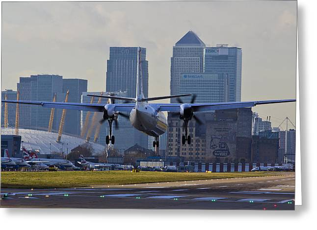 Traffic Control Greeting Cards - London City Airport Greeting Card by David Pyatt