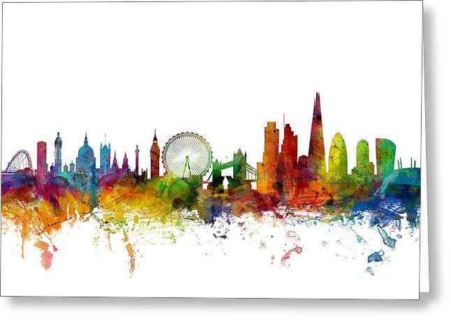 Urban Watercolour Greeting Cards - London England Skyline Greeting Card by Michael Tompsett