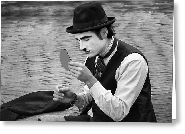 Man Dressed In Black Greeting Cards - #7 Looking Good - French Mime Greeting Card by Nikolyn McDonald