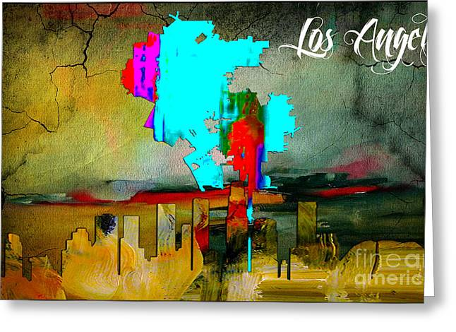 City Skylines Greeting Cards - Los Angeles Map and Skyline Greeting Card by Marvin Blaine