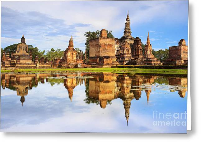 Water Lilly Greeting Cards - Main buddha Statue in Sukhothai historical park Greeting Card by Anek Suwannaphoom
