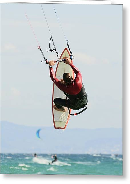 Man Kitesurfing Greeting Card by Ben Welsh