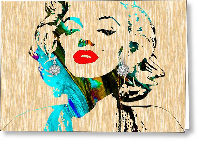 Celebrities Greeting Cards - Marilyn Monroe Diamond Earring Collection Greeting Card by Marvin Blaine