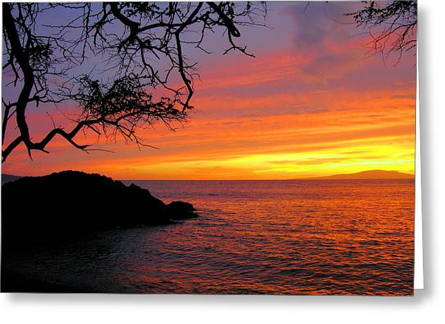 Hawaiin Greeting Cards - Maui Sunset Greeting Card by Stephen  Vecchiotti