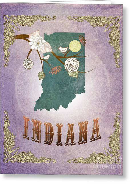 Indiana Lily Greeting Cards - Modern Vintage Indiana State Map  Greeting Card by Joy House Studio