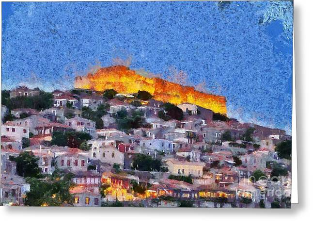 Greece Greeting Cards - Molyvos town in Lesvos island Greeting Card by George Atsametakis