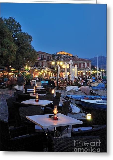 Fortress Greeting Cards - Molyvos village during dusk time Greeting Card by George Atsametakis