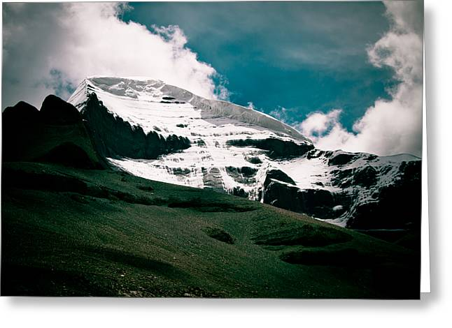 Jainism Greeting Cards - Mount Kailash western slope Home of the Lord Shiva Greeting Card by Raimond Klavins