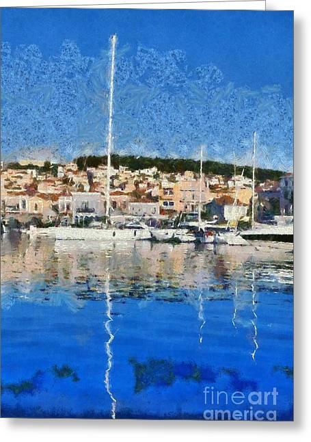Framed Prints Greeting Cards - Mytilini port Greeting Card by George Atsametakis