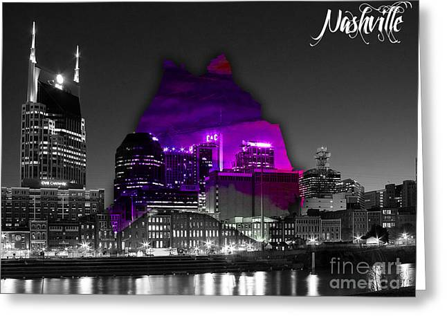 Nashville Tennessee Greeting Cards - Nashville Skyline and Map Watercolor Greeting Card by Marvin Blaine