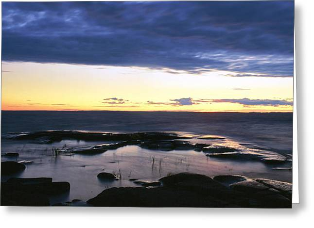 Storm Clouds; Sunset; Twilight; Water Greeting Cards - National Park VALAAMSKY Greeting Card by Anonymous