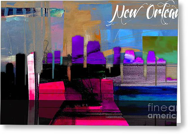 New Orleans Greeting Cards - New Orleans Skyline Watercolor Greeting Card by Marvin Blaine