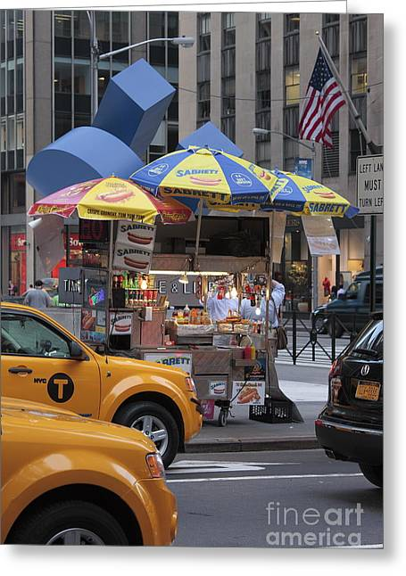 Taxi Stands Greeting Cards - New York Greeting Card by Chris Selby