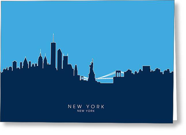 Usa Digital Art Greeting Cards - New York Skyline Greeting Card by Michael Tompsett
