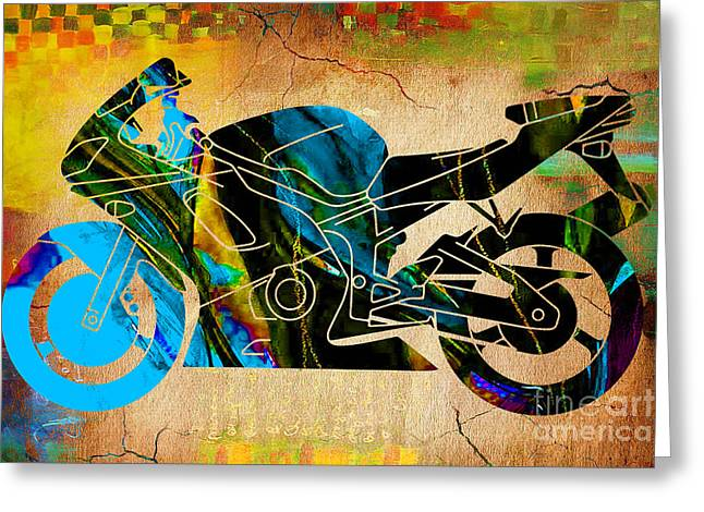 Racing Greeting Cards - Ninja Motorcycle Greeting Card by Marvin Blaine