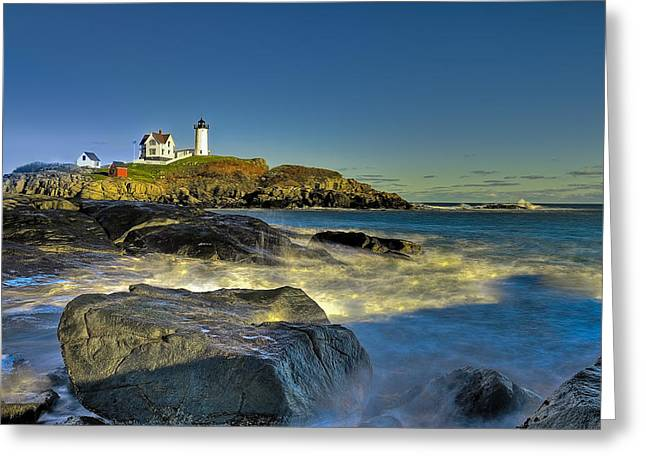 Cape Neddick Greeting Cards - Nubble Lighthouse Greeting Card by Edmund Prescottano