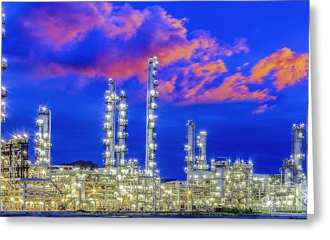 Power Plants Greeting Cards - Oil Refinery Plant  Greeting Card by Anek Suwannaphoom