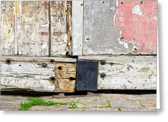 Beige Abstract Greeting Cards - Old door Greeting Card by Tom Gowanlock