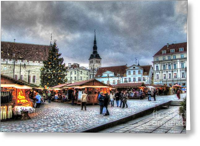 People Pyrography Greeting Cards - Old Tallinn Greeting Card by Yury Bashkin