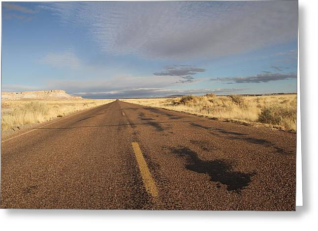 The Petrified Forest Greeting Cards - On the road Greeting Card by Guido Prussia