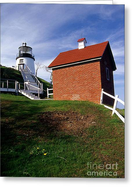 Maine Beach Greeting Cards - Owls Head Lighthouse Greeting Card by Skip Willits