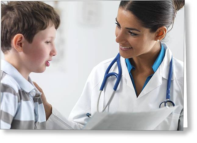 Check Up Greeting Cards - Paediatric examination Greeting Card by Science Photo Library
