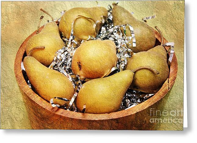 Pear Mixed Media Greeting Cards - 7 Pears At A Party Greeting Card by Andee Design