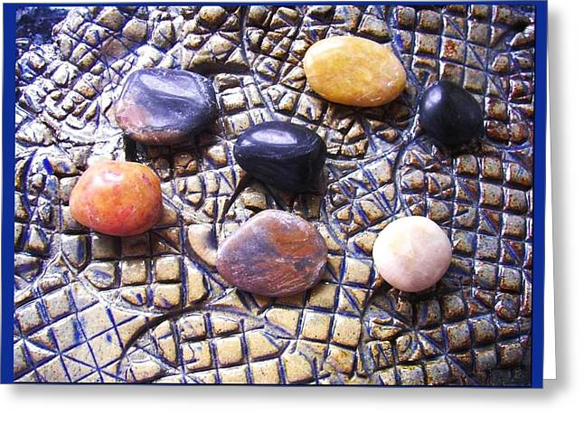 Posters Ceramics Greeting Cards - 7 Pebbles Abstract  Greeting Card by Joan-Violet Stretch
