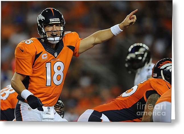 Broncos Mixed Media Greeting Cards - Peyton Manning Greeting Card by Marvin Blaine