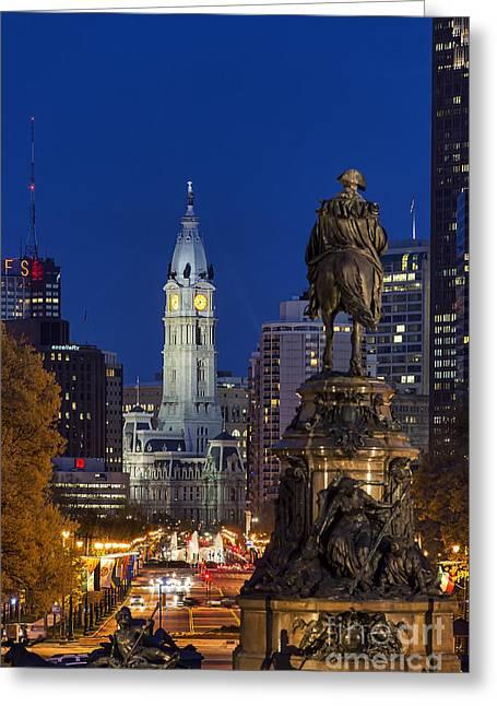 Eakins Oval Greeting Cards - Philadelphia Skyline Greeting Card by John Greim