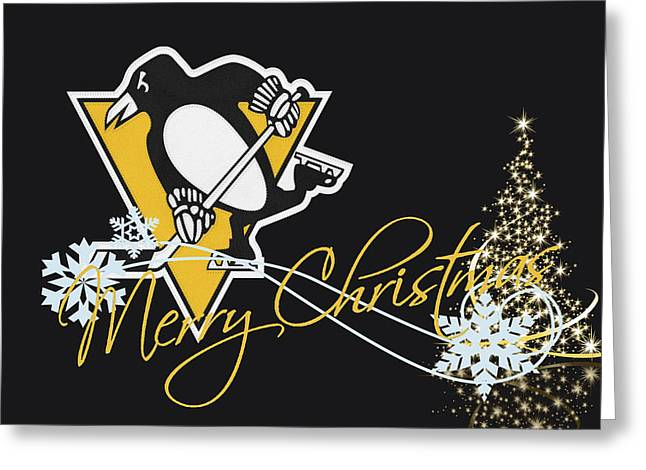 Skates Greeting Cards - Pittsburgh Penguins Greeting Card by Joe Hamilton