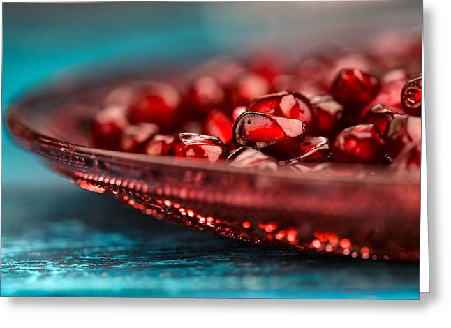 Cyan Greeting Cards - Pomegranate Greeting Card by Nailia Schwarz
