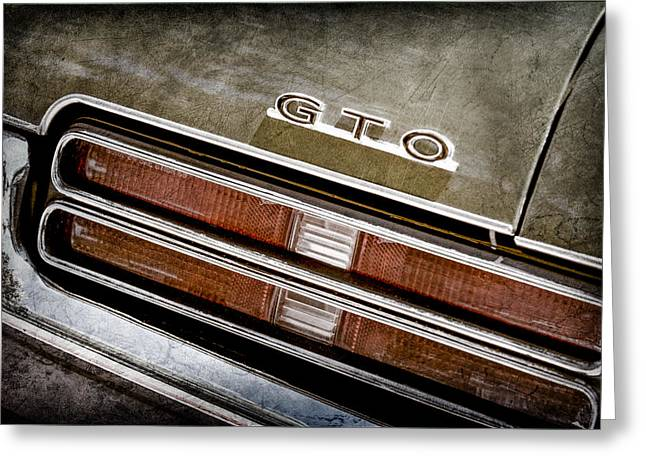 Pontiac Gto Greeting Cards - 1969 Pontiac Gto Taillight Emblem -0475A Greeting Card by Jill Reger