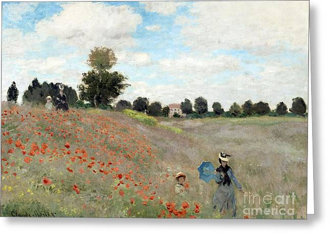 Vintage Painter Greeting Cards - Poppy Field Greeting Card by Claude Monet