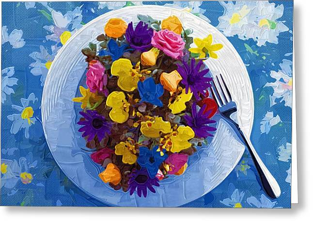Close Up Paintings Greeting Cards - Printable coloring Flowers Greeting Card by Victor Gladkiy